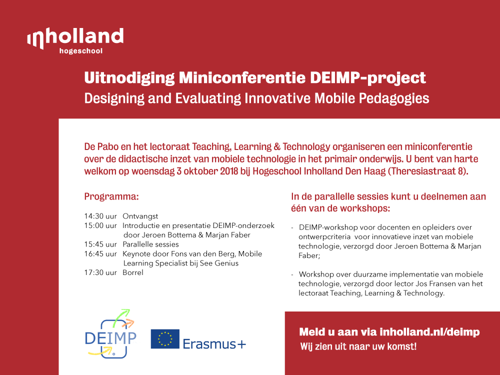 Miniconferentie DEIMP-project: Developing & Evaluating Innovative Mobile Pedagogies